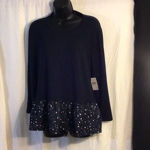 Kate Spade Navy Blue Blouse 3/4 Sleeve Size Large